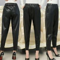 Lady PU Leather Pants Trousers Fur Lining Tapered High Elastic Waist Loose Black