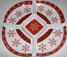"CHRISTMAS  CHIP & DIP Melamine Serving Platter 15"" Dia x 1.50 ""H  SNOWFLAKES"