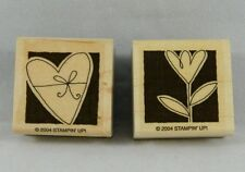 Pair of 2004 Stampin' Up Wood Block Mounted Rubber Stamps Flower Heart