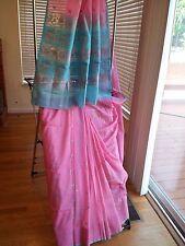 Blue Pink wedding saree - indian silk - amazing color combination