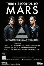 "30 SECONDS TO MARS ""LOVE LUST FAITH+DREAMS TOUR"" 2014 MEXICO CITY CONCERT POSTER"