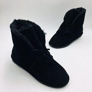 BEARPAW Christie Suede Sheepskin Fringe Boot with NeverWet Size 11W Black