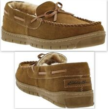 Eddie Bauer Men's Woodland Suede Slippers Sherling Lined Moccasin Sz M(8-9) Tan