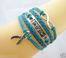 Braided Bracelet Teal Blue Hot Infinity/Hope/Cancer Ribbon Charms Leather