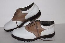 Footjoy Softjoy Terrain Golf Shoes, #93308, Wht/Tan Saddle, Leather, Women's 6