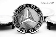 MERCEDES (SET OF 4) 75mm BLACK WREATH WHEEL CENTER CAPS 3 PIN WC4PC511 MB2