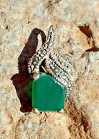 Jade Pendant w Marcasite Necklace Sterling New Designer Mexican Jewelry
