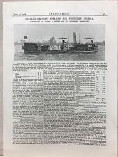Shallow Draft Steamer For Northern Nigeria: 1908 Engineering Magazine Print