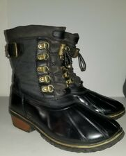 Black rubber nylon faux leather winter duck snow boots. 7