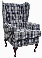 FIRESIDE WING BACK QUEEN ANNE CHAIR SUPERIOR  LUXURY CHARCOAL TARTAN FABRIC