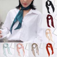 Women Silk Scarf Wrap Fashion Shawl Kerchief Solid Head Neck Hair Tie Band Decor