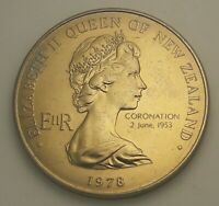 1978 NEW ZEALAND SILVER PROOF ONE DOLLAR DAY BU UNC COLOR TONED COIN