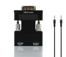 HDMI Stecker auf zu VGA Buchse Konverter Adapter mit Audio Kabel 1080P Full HD