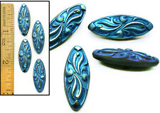 REDUCED 27mm Vintage Czech Glass Art Nouveau MATTE BLUE AB OVAL Wave Buttons 4p