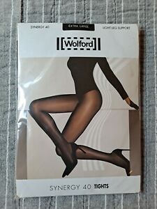 Wolford Synergy 40 Light Support Pantyhose Tights (extra lg) Black #s 18393 7005