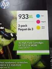 HP  (933XL) Ink Cartridges - SET OF 3 XL COLOR -  D8J65BN - SHIPS FREE - 2021