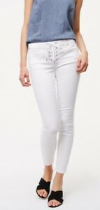 Ann Taylor LOFT Modern Lace Up Skinny Jeans Pants in White Size 32/14 NWT
