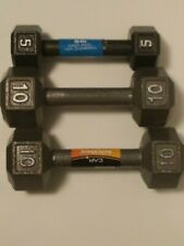 10 LB POUND CAST IRON DUMBBELL Hex PAIR + 5 # 25lbs Total