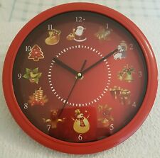 Christmas Musical Clock 25cm Round Wall Clock Plays Different Christmas Tunes On