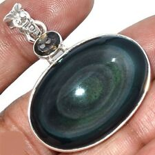Pendentif protection obsidienne oeil celeste quartz fumé argent 925 ref 2283