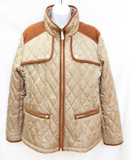 VINCE CAMUTO Womens Tan Quilted Faux Leather Equestrian Jacket Farm Coat XL