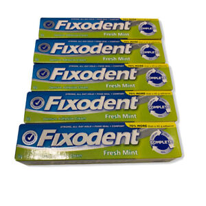 New Sealed Fixodent Denture Adhesive Cream, Fresh Mint 2.40 oz (Pack of 5)