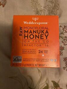 Wedderspoon On The Go Raw Premium Manuka Honey KFactor 16 -  New Box of 24