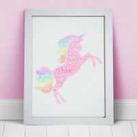 Personalised Pink Rainbow Unicorn Print Gifts Girls Birthday Frame Magical Gift