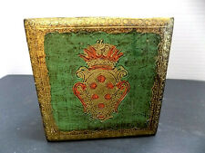 Florentine Jewelry Box Green & Gold Toleware Hand Decorated Gold Italy 4x4