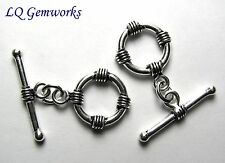 2 Bali Sterling Silver 13mm Fancy Toggle Clasps #885