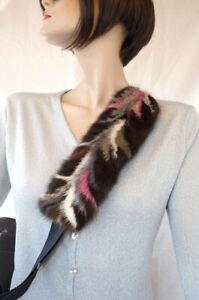 Mink Girth Fur Strap Fur Padding Car Bag Carrying Natural Braun Multicoloured