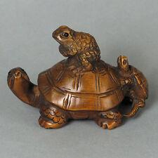 "1940's Japanese handmade Boxwood Netsuke ""2 TURTLE AND FROG"" Figurine Carving"