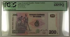 31.7.2007 Congo Democratic Republic 200 Francs Note SCWPM# 99 PCGS GEM 68 PPQ