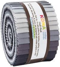 """Small Jelly Roll 24 x 2.5"""" x 42"""" Kaufman Kona Cotton STORMY SKIES Palette"""