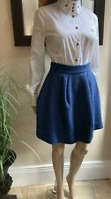 Vivienne Westwood Red Label ~ Deep Blue Criniscule Wool Skirt 38 UK8