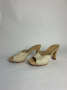 Vintage Peep Toe Clogs White Leather Made in Italy