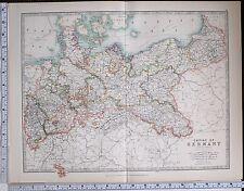 1904 LARGE MAP EMPIRE OF GERMANY NORTHERN KINGDOM OF SAXONY POSEN HANOVER