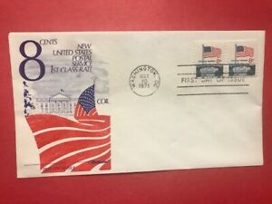 #1338G FDC 1971 Flag Over White House L976 UA  Coil PAIR
