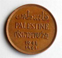 Israel Palestine British Mandate 2 Mils 1941 Coin XF