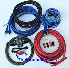 8 Gauge Car Power Amp INSTALL KIT w/ RCA, Power, Ground, Speaker Wire, Fuse, etc
