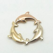 NEW 14K Tricolor Gold Dolphins Eternity Circle Charm Pendant