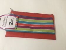 Pencil Case Kids / Students 2 Pencil Cases Bag Pouch Stationar. New