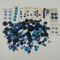 Button Lot Vintage Blue Round Plastic Pacific Crest Le Chic Buttons Mixed Lot