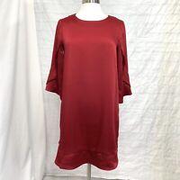 Pleione Women's Small Dress Tunic Burgundy Red Satin 3/4 Bell Sleeve #P
