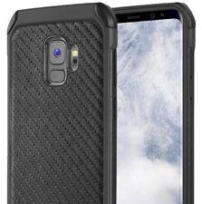 for Samsung Galaxy S9 Black Carbon Fiber Hard TPU Hybrid Plastic Case Cover