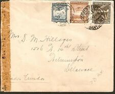 223 CHILE TO US CENSORED AIR MAIL COVER 1943 SANTIAGO