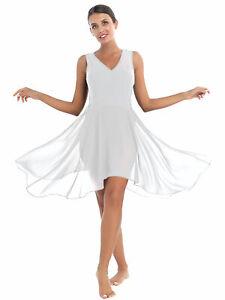 Ballettkleid Damen Body Kleider Ärmellos Tanzkleid Elegant Unregelmäßig Swing XL