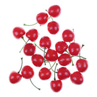 Mini Fake Fruit Small Artificial Flower Red Cherry For Kids Funny Kitchen Toys >