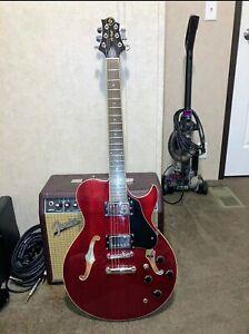 samick - greg bennett semi hollow electric guitar transparent Red