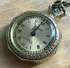 VTG Brichot Lady Gold Tone Swiss Hand-Wind Necklace Pendant Pocket Watch Hours